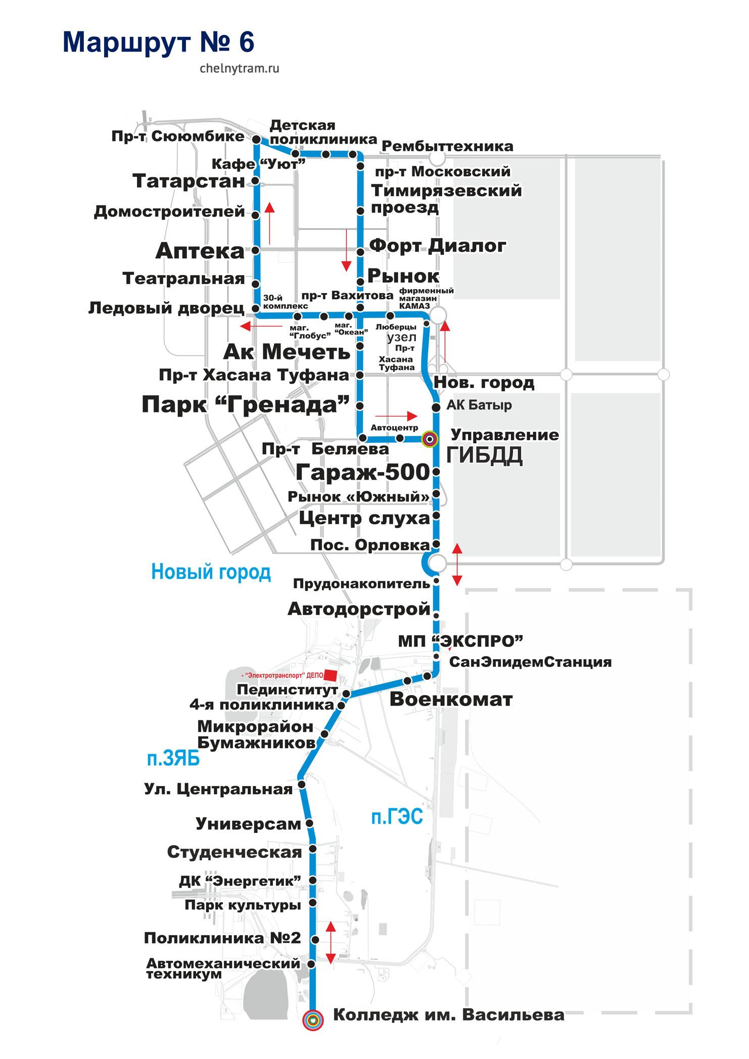 схема маршрута автобуса № 6